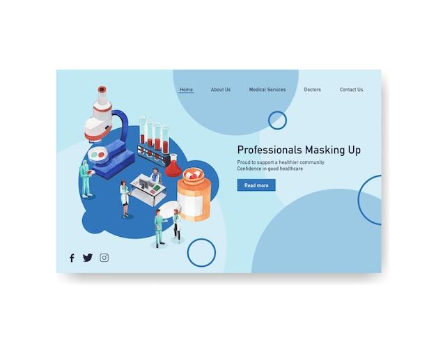 Gezondheidszorg website sjabloonontwerp met medisch personeel en artsen en patiënten