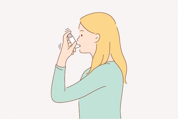 Gezondheidszorg ziekte probleem astma concept