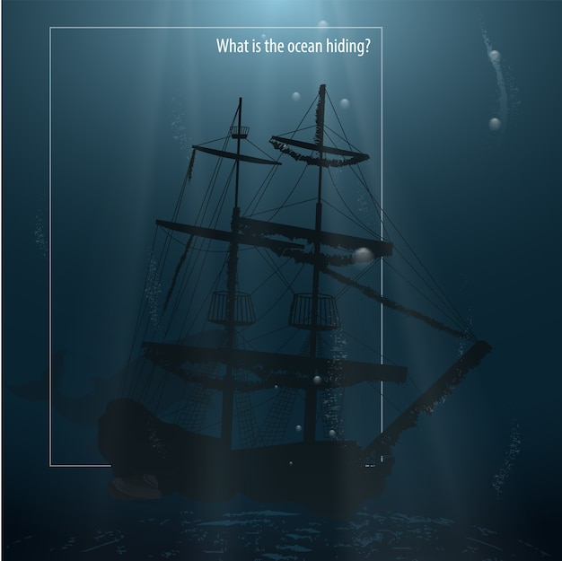 Gezonken schip op de bodem van de oceaan.