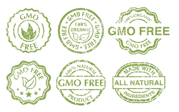 Ggo gratis teken. grunge rubber groene ggo-vrije stempels set