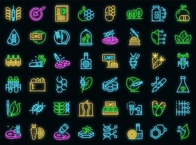 Ggo-voedsel pictogrammen instellen. overzichtsreeks ggo-voedsel vectorpictogrammen neonkleur op zwart
