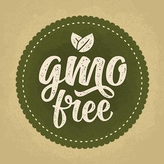 Ggo-vrije belettering met blad beige vintage vectorillustratie geïsoleerd op groene cirkel sticker