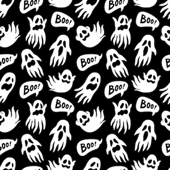 Ghost and boo naadloze patroon. halloween-thema.