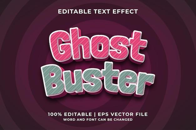 Ghost buster 3d bewerkbaar teksteffect premium vector
