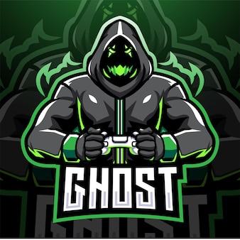 Ghost gaming esport mascotte logo ontwerp