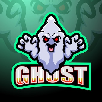 Ghost gaming mascotte esport logo ontwerp