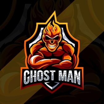 Ghost man mascotte logo esport ontwerp