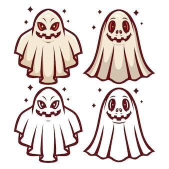 Ghost mascot set