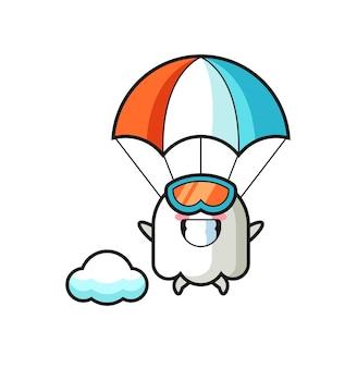 Ghost mascotte cartoon is aan het parachutespringen met een blij gebaar