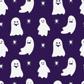 Ghost naadloos patroon. ontwerp grenzeloze achtergrond van griezelige grappige schattige spookachtige halloween-monsters. ornament voor papier wrap, stof, print