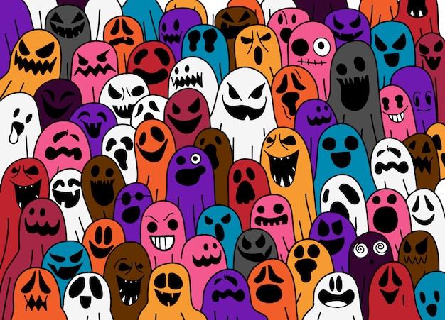 Ghost patroon halloween griezelige doodle illustratie