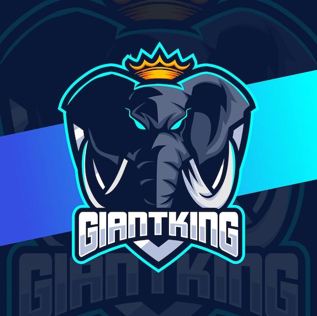 Giant elephant king mascot esport logo-ontwerp