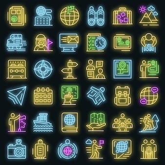 Gids pictogrammen instellen. overzicht set van gids vector iconen neon kleur op zwart