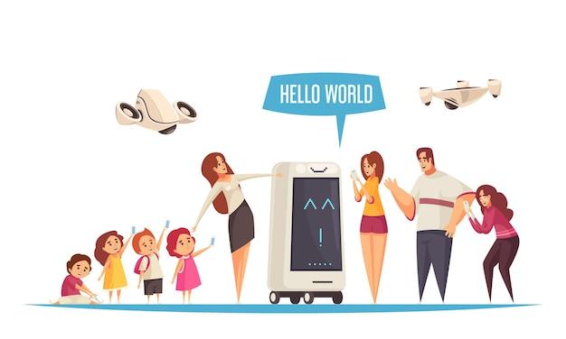 Gids van excursie-robotkarakter met illustratie van drones