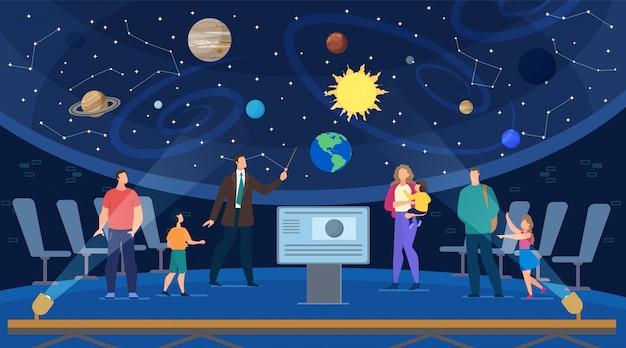 Gids voert educatieve excursie uit op planetarium