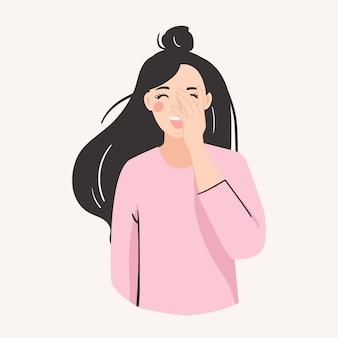 Giechelend vrouwengezicht. goed humeur, vrolijk, positief, gelukkig concept.