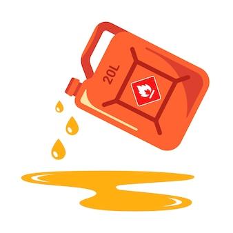 Giet benzine uit het blik. schadelijke plas aardolieproducten.