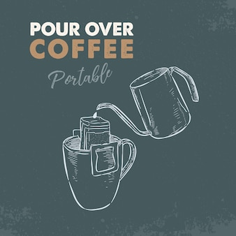 Giet over draagbare koffie. hand tekenen schets vector.