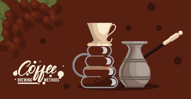 Giet over en turkse koffiezetmethoden