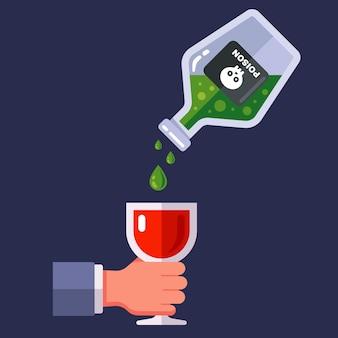 Giet vergif in een glas wijn. geheime moord op een persoon door vergiftiging. platte vectorillustratie.