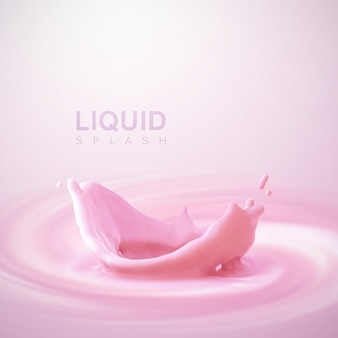 Gieten aardbeimelk kroon splash op wervelende whirlpool romige roze achtergrond