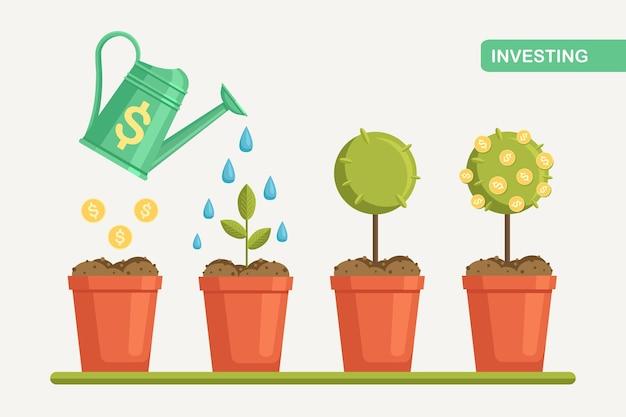 Gieter geldboom in pot water geven