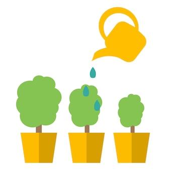 Gieter met bloem vector icoon. vector platte cartoon afbeelding pictogram ontwerp