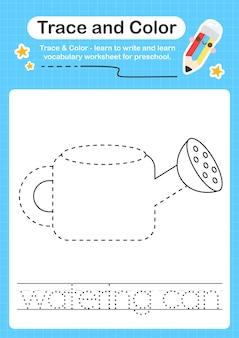Gieter traceren en kleur voorschoolse werkbladtracering voor kinderen voor het oefenen van fijne motoriek