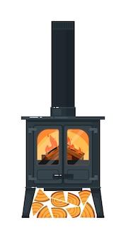 Gietijzeren schoorsteenmantel met brandend brandhout en schoorsteen geïsoleerd