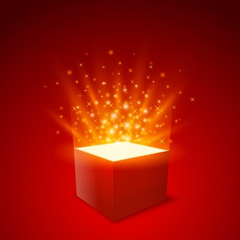 Gift box achtergrond, box strat fly, gift rode achtergrond, vector illustratie