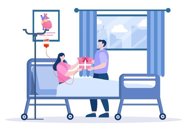 Gift box donatie aan ziekenhuis kamer achtergrond vectorillustratie. man die cadeau geeft voor vrouwelijke patiënt
