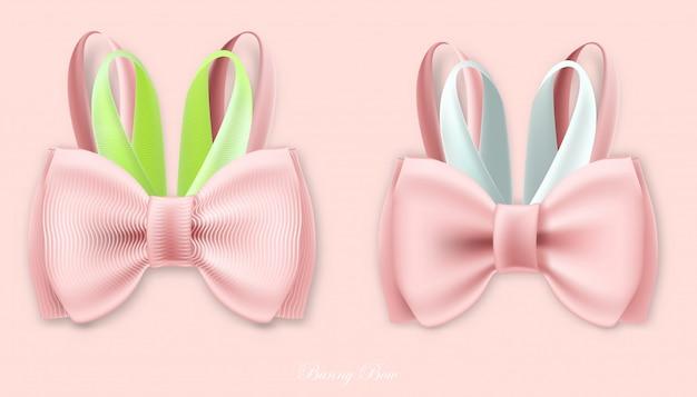 Gift bunny zijde roze strikken
