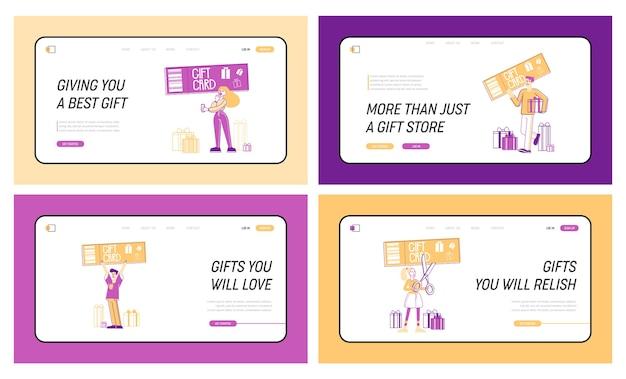 Gift card en verkoop bestemmingspagina sjabloon set