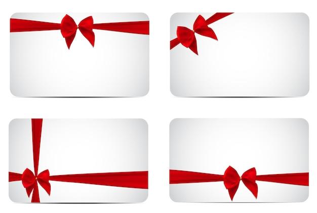 Gift card template collection set met zijden rood lint en strik.