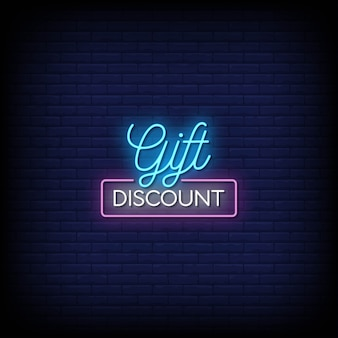 Gift discount neon signs style text