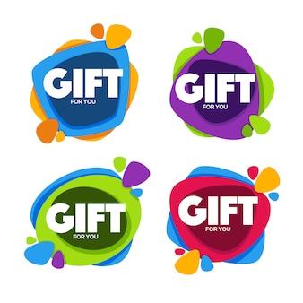 Gift for you, verzameling heldere felicitatietags, spandoeken en stickers