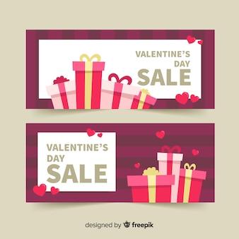 Gift stapel valentijnsverkoop banner