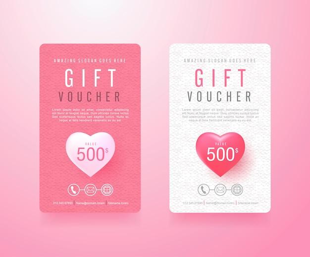 Gift voucher kortingssjabloon met valentijnsdag verkoop achtergrond