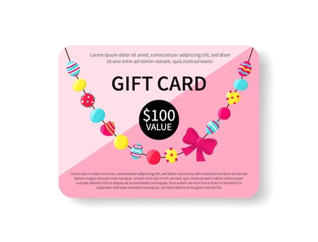 Giftcard met kleurrijke geïsoleerde parels. accessorize cadeaubon. coupon ontwerpsjabloon. shopping certificaat. vector illustratie