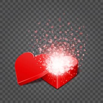 Giftdoos en hartenconfettien op transparantie vectorillustratie worden geïsoleerd die als achtergrond