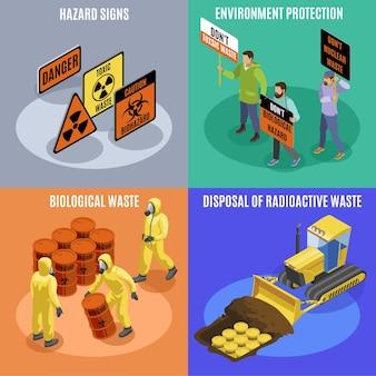 Giftig biologisch en radioactief afval 4 isometrische pictogrammen