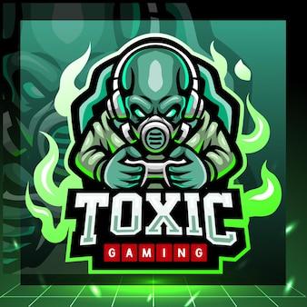 Giftig gaming mascotte esport logo ontwerp