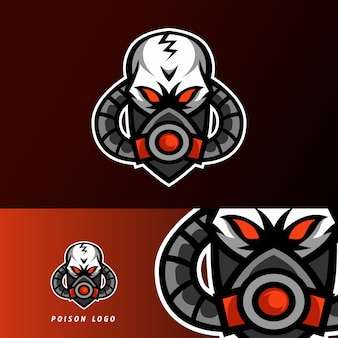 Giftig gifmasker sport esport logo sjabloonontwerp