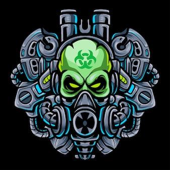 Giftig hoofd schedel mecha robot mascotte esport logo ontwerp