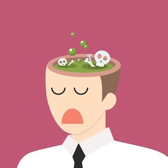 Giftig idee in zakenmanhoofd. negatief denken concept. vector illustratie