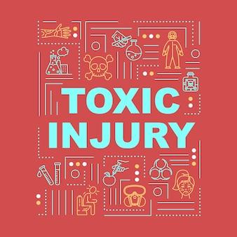 Giftig letsel, radioactieve intoxicatie, stralingseffect woordconcepten banner. infographics met lineaire pictogrammen op rode achtergrond. geïsoleerde typografie. vector overzicht rgb-kleurenillustratie
