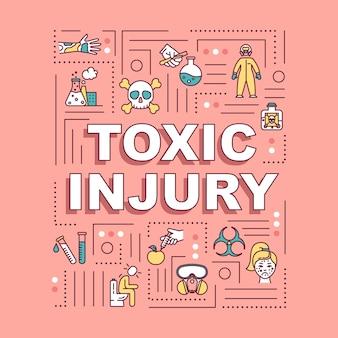 Giftig letsel, vergiftiging en bedwelming, stralingseffect woordconcepten banner. infographics met lineaire pictogrammen op roze achtergrond. geïsoleerde typografie. vector overzicht rgb-kleurenillustratie