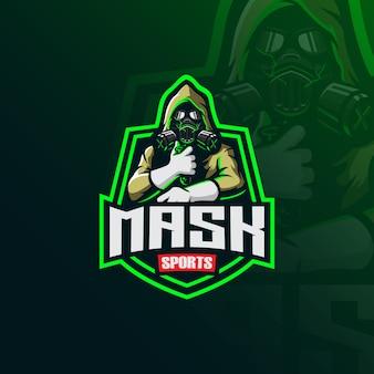 Giftig masker mascotte logo met moderne illustratie