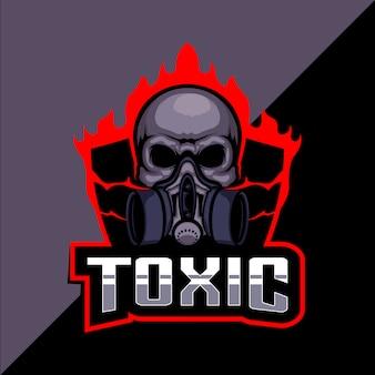 Giftig schedel esport logo ontwerp Premium Vector