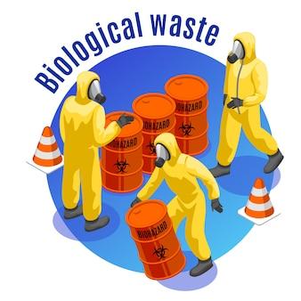 Giftige afval isometrische ronde samenstelling met gevaarlijke biologische en besmettelijke medische materialen veilige verwijdering